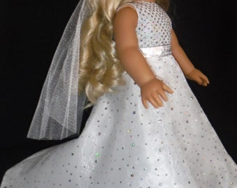 18 inch doll clothes -  Wedding Gown and Veil - FREE SHIPPING