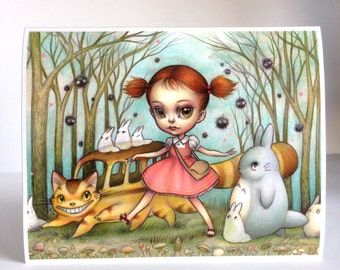 Tonari No Totoro - Limited Edition signed numbered 8x10 pop surrealism lowbrow Fine Art Print by Mab Graves -unframed