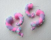 Pastel Sea Monster Tentacle Fake Gauge Earring- Octopus -Monster - Pink- Teal- Purple -Cthulhu