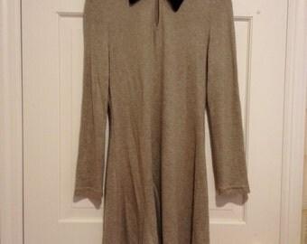 90s Velvet Collar Sweater Dress
