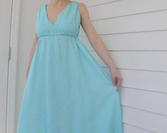 Blue Maxi Dress Vintage 70s 1970s Spring Summer XS