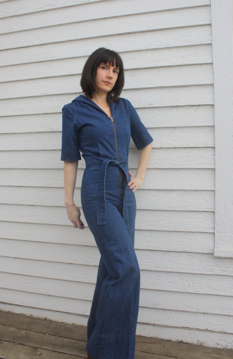 70s Denim Jumpsuit Catsuit Zip Retro Wide Leg Hooded Hoodie XS
