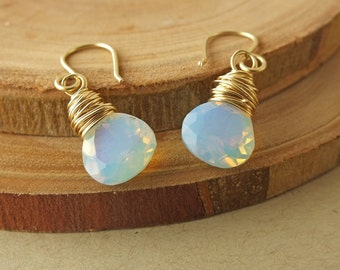 Fire Opal, Fire Opal Gold Earrings, Fire Opal Earrings, Opal Earrings, Opal Jewelry, Opalite, October Birthstone, October Birthday
