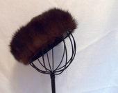 SALE 1950s Vintage Ladies Genuine Chocolate Mink Fur Beret / Hat in Rich Brown