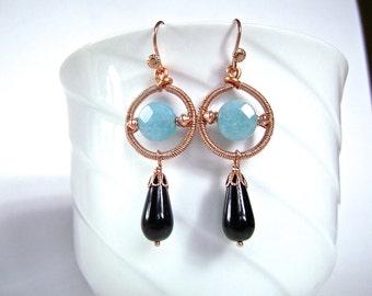 Aqua Jade Earrings, Onyx Teardrops, Copper, Wire Wrapped, Art Deco, Geometric Earrings, Aqua Blue, 882