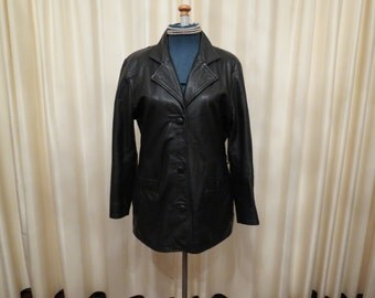 Vintage 1980s Early 90s Black Leather Women's Jacket Coat Made in Australia