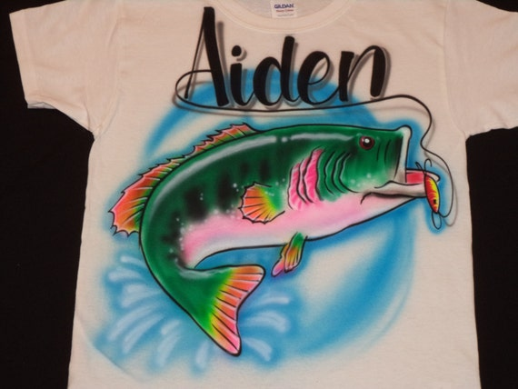 Airbrush Fish T Shirt Personalized With Name Size S M L Xl 2x