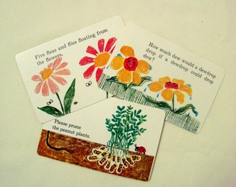 Garden Tongue Twister Cards 3 Vintage 1970 Highlights Growing Plants