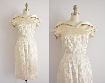 vintage 1950s dress / gold tinsel floral party dress / 1950s wiggle dress