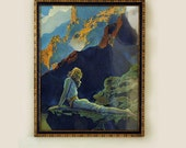 "Maxfield Parrish Vintage Print ""Wild Geese"" in Original 13"" x 16"" Frame signed Reinthal & Newman NY"