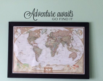 Adventure awaits go find it Vinyl Wall Decal - Travel Vinyl Wall Decal - Travel Wall Decal - Adventure awaits decal - Adventure Vinyl Decal