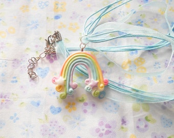 Rainbow Necklace, Pastel Necklace, Kawaii Necklace, Pastel Kawaii, Pastel Rainbow, Cute Necklace, Ribbon Necklace, Girls Gift Idea, Kawaii