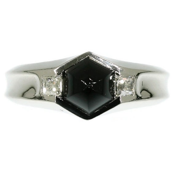 On Hold for Lisa - Genuine Art Deco ring platinum faceted high domed cabochon black onyx and old carre cut diamonds c1920 France