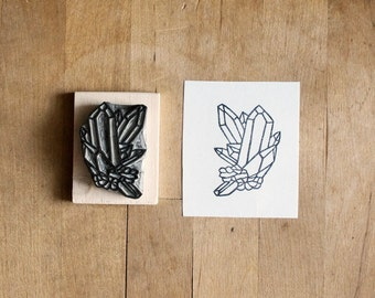 Raw Quartz No. 5 - Hand Carved Rubber Stamp - Crystal Geometric