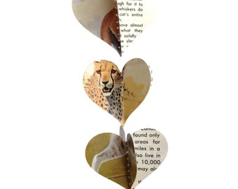 Cats - Mini Paper Heart Garland Decoration -  Repurposed Vintage Field Guide to Cats - Handmade Party Supplies - Last 2