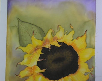 Sunflower Hand Painted on Fabric Quilt Block Fabric Panel