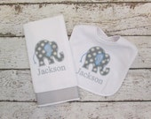 Monogrammed Bib and Burp Cloth  Set with Blue and Grey Elephant for Baby - Embroidered Personalized