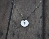 Silver Disc Initial Necklace 9.5mm - sterling silver dot small round personalized charm hand stamped pendant gift - simple everyday jewelry