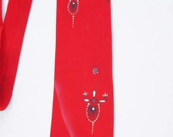 Vintage 50s-60s Handpainted Necktie /Retro/ Mid Century/Collectible