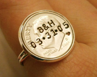10 Year Anniversary Gift for Wife: 10th Tin Anniversary, Dime Ring, Minimalist Personalized Jewelry, Hand Stamped Initials & Date, 2017 2007