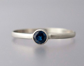 Blue Sapphire White Gold Ring -  Solid 14k Gold Thin Engagement Ring with a 3.5mm Sapphire