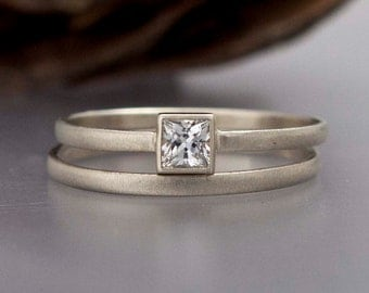 Square Engagement Ring and Wedding Band Set in solid 14k white or yellow gold - Diamond, White Sapphire or Moissanite