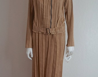 SALE Vintage Issey Miyake Camel Tan Pleated Suit / Issey Miyake White Label 2 Pc Moto Jacket Maxi Skirt Outfit  NWT Neiman Marcus Size 3