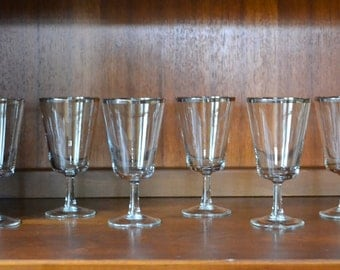 vintage 1960s silver rimmed french champagne glasses