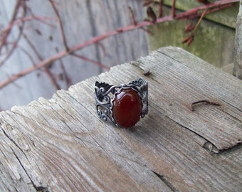 Carnelian gemstone in Rustic Silver Filigree Ring - Adjustable - Gypsy ring