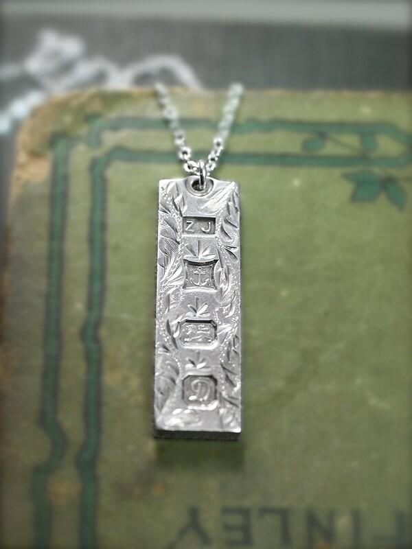 Fancy Engraved Large Sterling Silver Ingot Necklace 1978