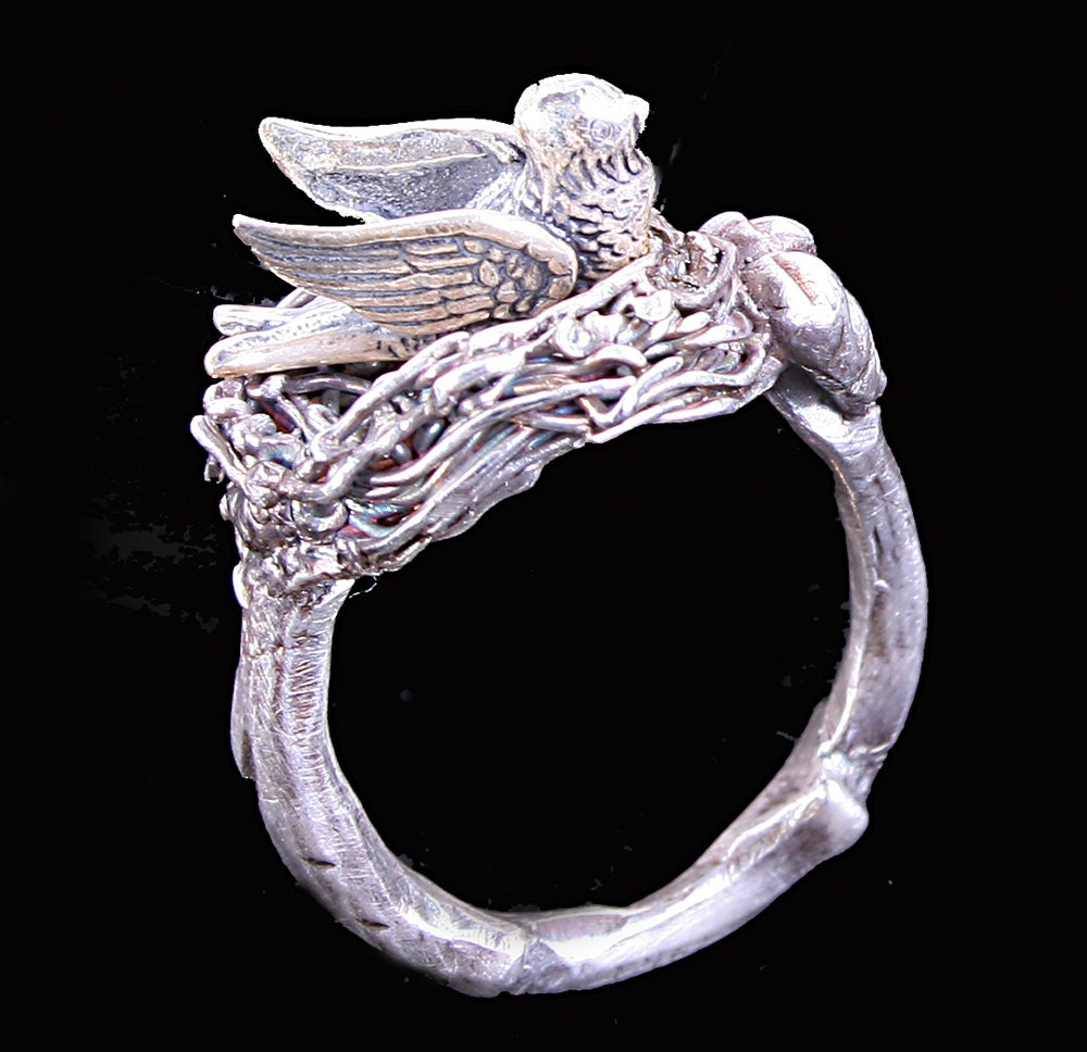 Fine silver ring dove ring twig ring bird nest ring 999 fine for Fine silver 999 jewelry