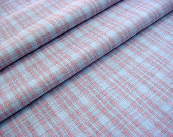 Vintage 70s Pastel Plaid Fabric -Pink & Blue Woven Homespun - Clothing Quilting Crafts Home Decor Wrinkle Resistant Material