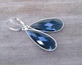 Sterling Silver London Blue Topaz Earrings, Bezel Set Gemstones, December Birthstone Jewelry, Long Tear Drop Statement Earrings