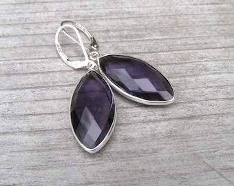 Sterling Silver Bezel Set Amethyst Earrings, February Birthstone Jewelry, Medium Purple Dangle Earrings,  Natural African Amethyst Stone