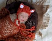 Newborn photo prop, newborn hat, newborn boy, newborn girl, newborn props, Newborn fox knitted hat.