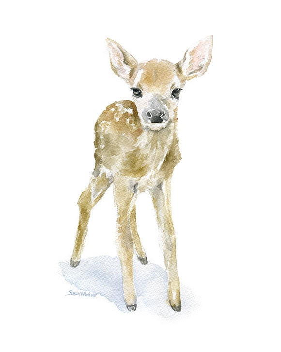 Deer Fawn Watercolor Painting Giclee Print Reproduction