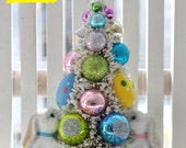 Bunny Easter Egg Bottle Brush Tree Pink Christmas vintage glass ornaments chic Easter Day Parade mica flocking shabby bottlebrush trees
