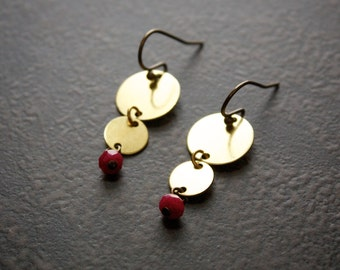 Graduated Raw Brass Disc Earrings with Ruby Quartz Rondelles