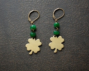 Brass Four Leaf Clover St Patricks Earrings with Emerald Green Jade Beads