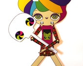 Assembled articulated paper doll Pinky