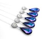 Purple Necklace, Peacock Wedding Necklace, Purple Bridal Necklace, Peacock Jewelry Peacock Wedding Purple Turquoise Purple Teardrop Necklace