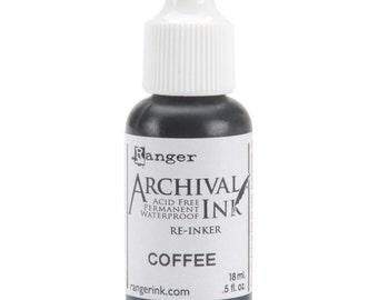 Ranger Archival Ink Waterproof Permanent Re-Inker Non-Toxic COFFEE Brown Umber Reinker
