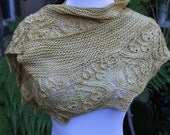 Golden Cherries Hand Knitted Fine Merino Wool Silk and Cashmere Blend Crescent Shaped Shawlette or Scarf