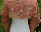 Criss Cross Apricot Hand Knitted Pure Merino Wool Lightweight Cables and Lace Shawlette or Scarf