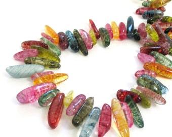 """Mix Color Quartz Spike Beads - Dyed Quartz Stick - Freeform Irregular Quartz - Long Smooth Gemstone - 16""""  Top Drilled - DIY Boho Jewelry"""