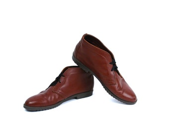 1980's Ankle Boots by Talbots, Women's Size 9, Rich Brown Leather Booties