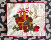 Vintage Strawberry Basket Embroidered Pillow Cover with Butterflies