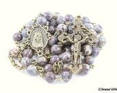Catholic Rosary Beads Brown White Maroon Orbicular Jasper Natural Stone Bronze Traditional Five Decade Unisex Catholic Gift
