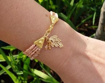 Nude Seed Beaded Swarovski Crystal Gold Leaf Charm Bracelet