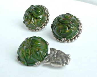Carved Green Bakelite Set Brooch Earrings Silver Spinach Swirl Tested Vintage 1930's
